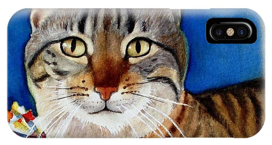 Cat IPhone X Case featuring the painting Ginger by Marilyn Jacobson
