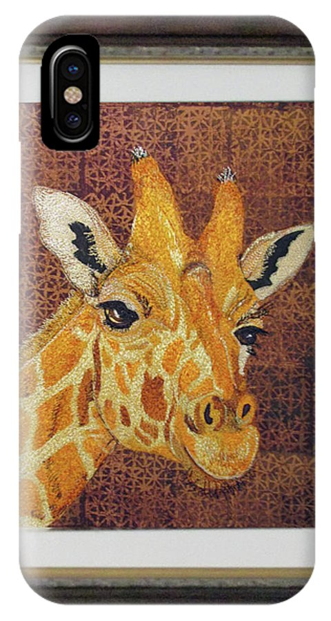 Giraffe IPhone X Case featuring the tapestry - textile Giraffe by Dolores Fegan
