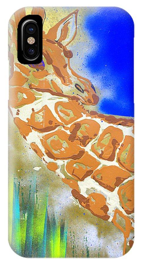 Giraffe IPhone Case featuring the painting Giraffe by J R Seymour