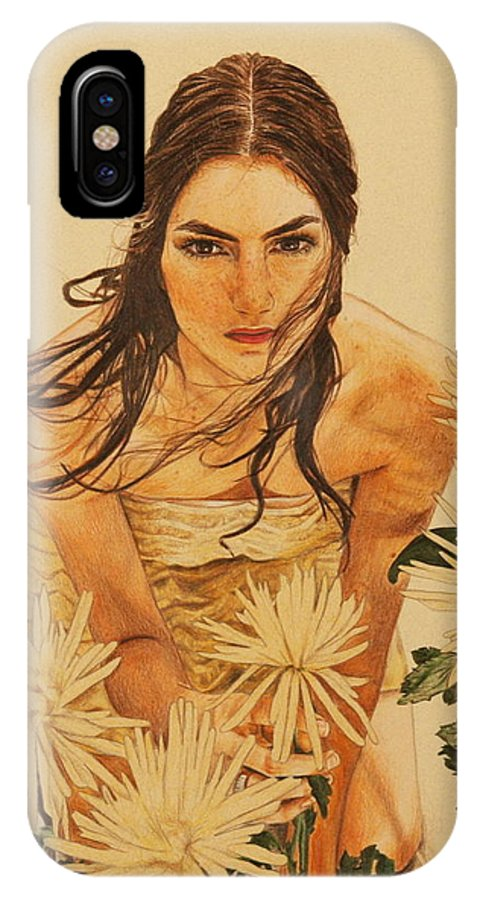 Girl IPhone X Case featuring the drawing Girl Among The Flowers by Michelle Miron-Rebbe