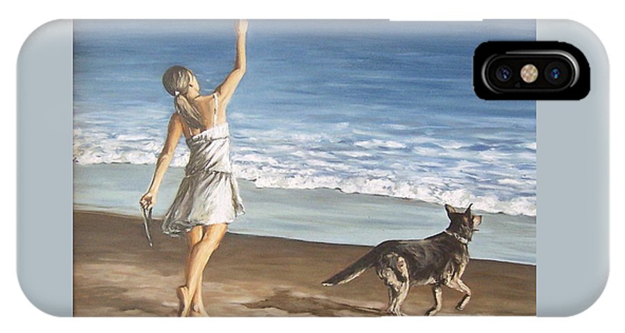 Portrait Girl Beach Dog Seascape Sea Children Figure Figurative IPhone X Case featuring the painting Girl And Dog by Natalia Tejera