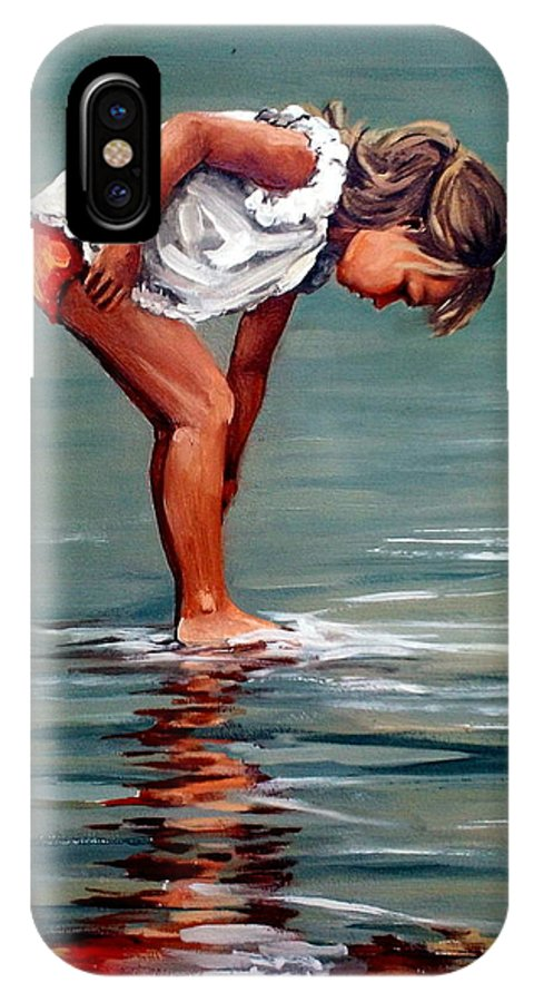Girl IPhone X Case featuring the painting Girl At Shore by Natalia Tejera