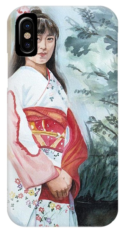 Japanese Girl In Kimono IPhone Case featuring the painting Girl In Kimono by Judy Swerlick