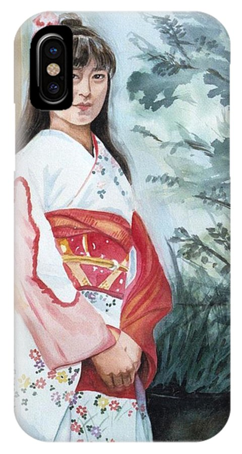 Japanese Girl In Kimono IPhone X / XS Case featuring the painting Girl In Kimono by Judy Swerlick