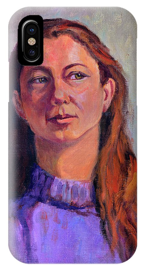 Portrait IPhone X Case featuring the painting Girl In Purple by Keith Burgess