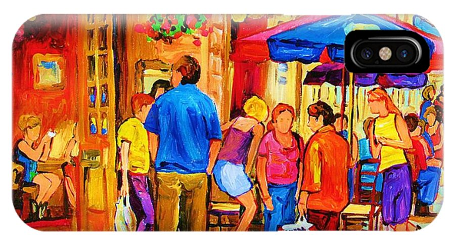Montreal Cafe Scenes IPhone X Case featuring the painting Girl In The Cafe by Carole Spandau