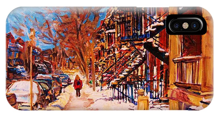 Montreal IPhone X Case featuring the painting Girl In The Red Jacket by Carole Spandau