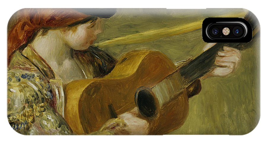 Impressionist; Impressionism; Portrait; Female; Music; Musician IPhone X Case featuring the painting Girl With A Guitar by Pierre Auguste Renoir