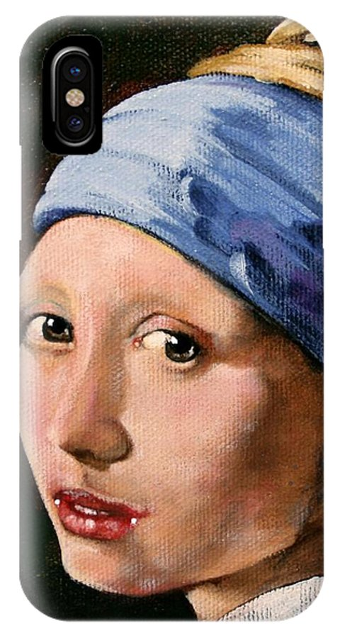 Portrait IPhone X Case featuring the painting Girl With A Pearl Earring A Reproduction Of Vermeer by Joan Garcia