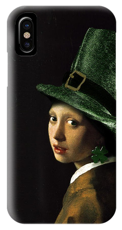 Vermeer IPhone X Case featuring the painting Girl With A Shamrock Earring by Gravityx9  Designs