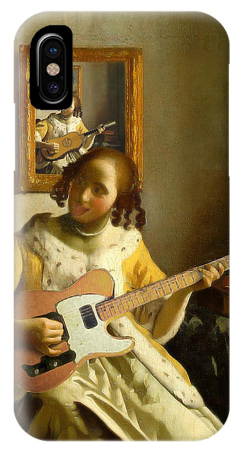 Vermeer IPhone X Case featuring the painting Girl With Guitar by Gravityx9 Designs