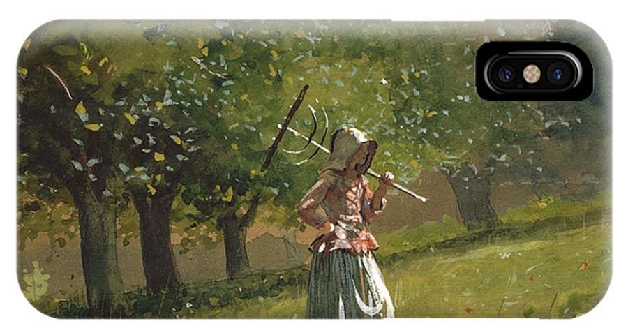 Girl With Hay Rake IPhone X Case featuring the painting Girl With Hay Rake by Celestial Images