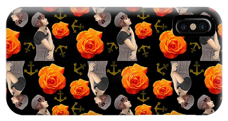 Girl IPhone X Case featuring the photograph Girl With Roses And Anchors Black by Alejandra Ortega