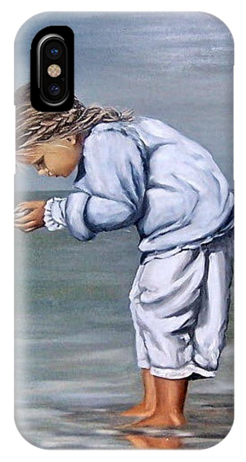 Kid Girl Seascape Sea Children Reflection Water Sea Shell Figurative IPhone Case featuring the painting Girl With Shell by Natalia Tejera