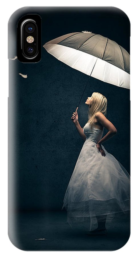 Girl IPhone X Case featuring the photograph Girl With Umbrella And Falling Feathers by Johan Swanepoel