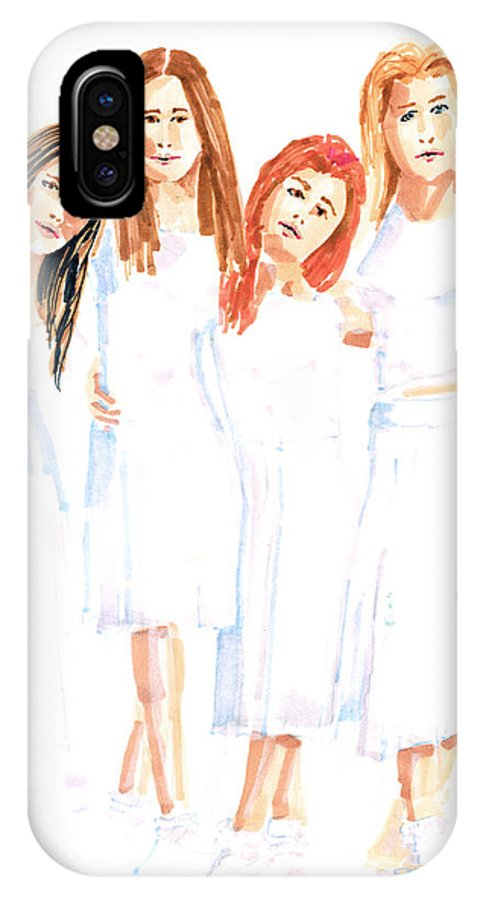Girls IPhone Case featuring the painting Girlfriends by Arline Wagner