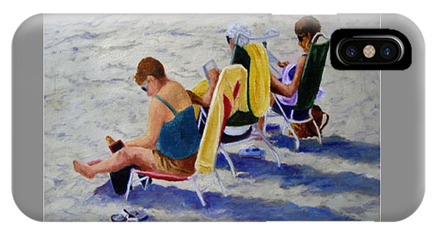Figures IPhone X Case featuring the painting Girls Day At The Beach by Fran Rittenhouse-McLean