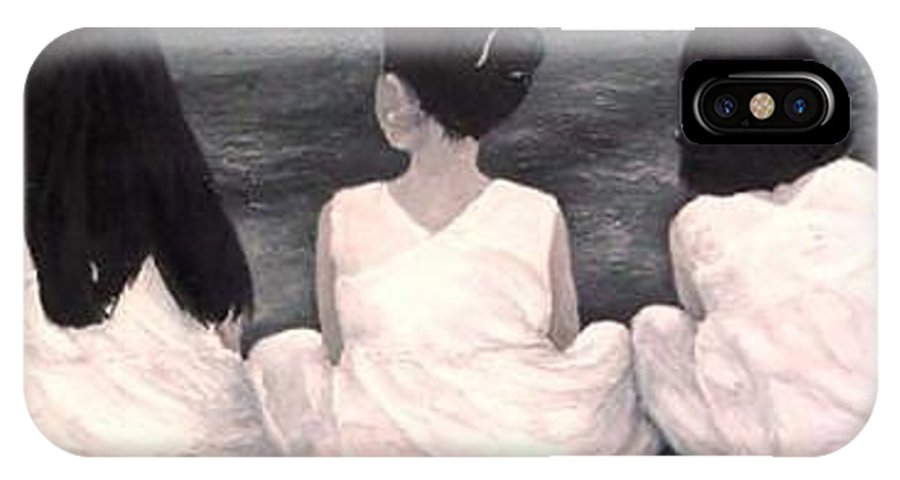 Girls IPhone X Case featuring the painting Girls In White At The Beach by Patricia Awapara