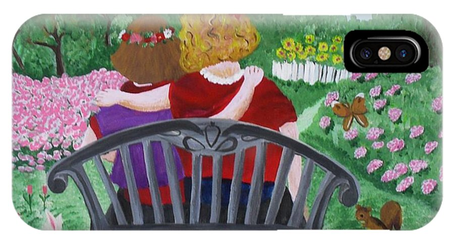 Acrylic IPhone X Case featuring the painting Girls Sitting by M Valeriano