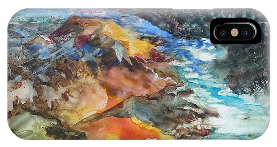 Abstract IPhone X Case featuring the painting Glacial Meltdown by Ruth Kamenev