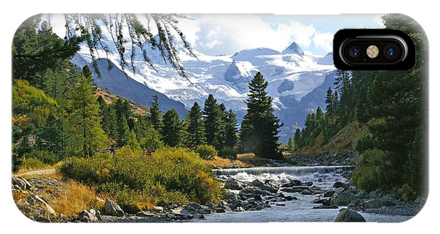 Mountain IPhone X Case featuring the photograph Glacier Stream by Tom Reynen