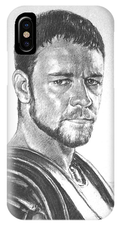Portraits IPhone X Case featuring the drawing Gladiator by Iliyan Bozhanov