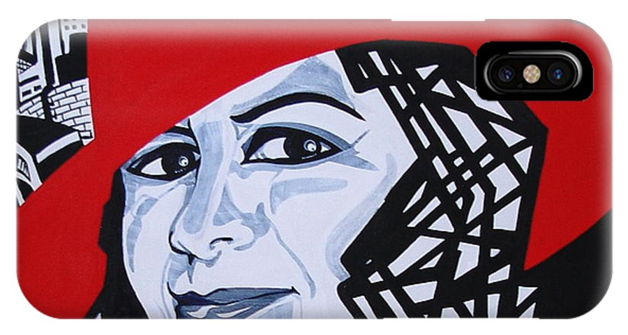 Glafira Rosales IPhone X Case featuring the painting GLAFIRA ROSALES in the Red Hat by Yelena Tylkina