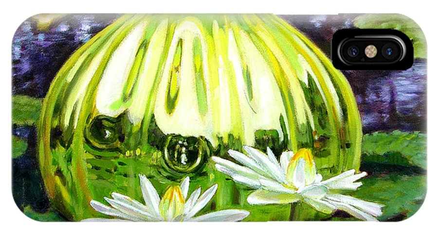 Water Lilies IPhone X / XS Case featuring the painting Glass Among The Lilies by John Lautermilch