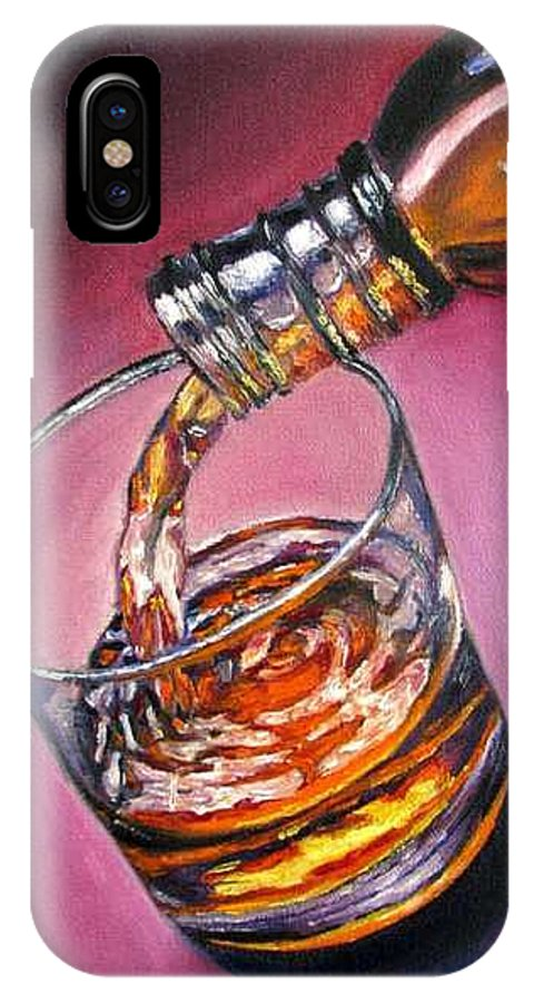 Glass Of Wine IPhone X / XS Case featuring the painting Glass Of Wine Original Oil Painting by Natalja Picugina