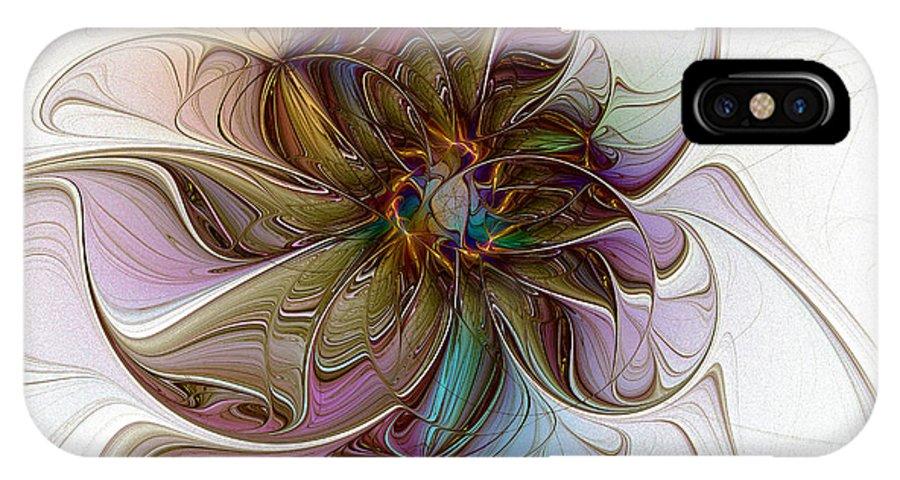 Digtital Art IPhone X Case featuring the digital art Glass Petals by Amanda Moore