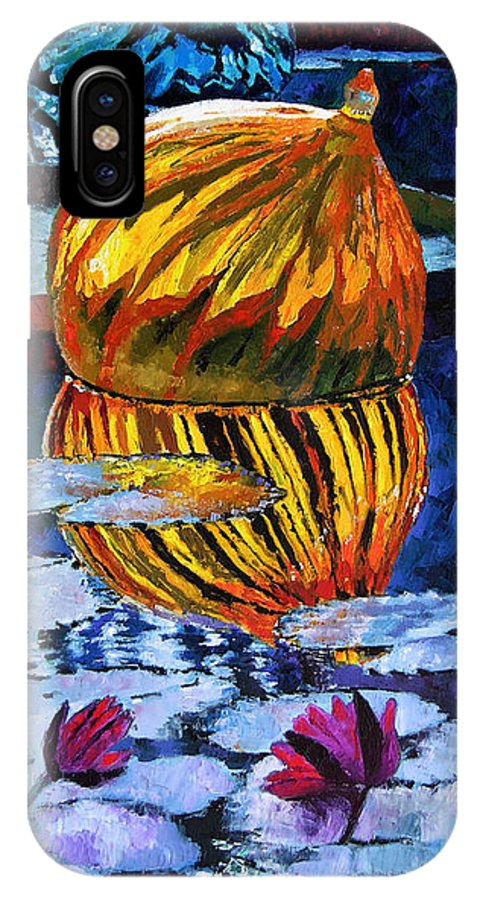 Blown Glass On Lily Pond IPhone Case featuring the painting Glass Reflections On Lily Pond by John Lautermilch