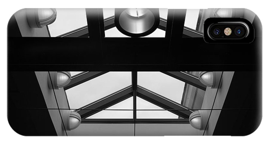 Black And White IPhone X Case featuring the photograph Glass Sky Lights by Rob Hans