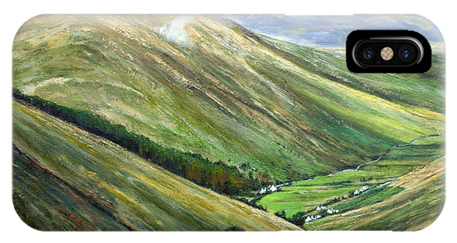 Landscapes IPhone X Case featuring the painting Glen Gesh Ireland by Jim Gola