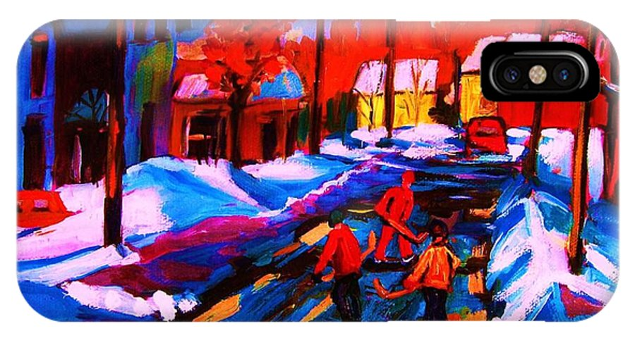 Streethockey IPhone X Case featuring the painting Glorious Day For A Game by Carole Spandau