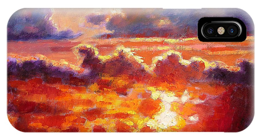 Sunset IPhone X Case featuring the painting Glorious Sunset by John Lautermilch