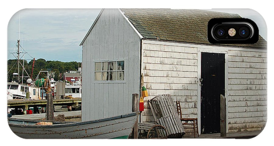 Boat IPhone X Case featuring the photograph Gloucester Boat House by Suzanne Gaff