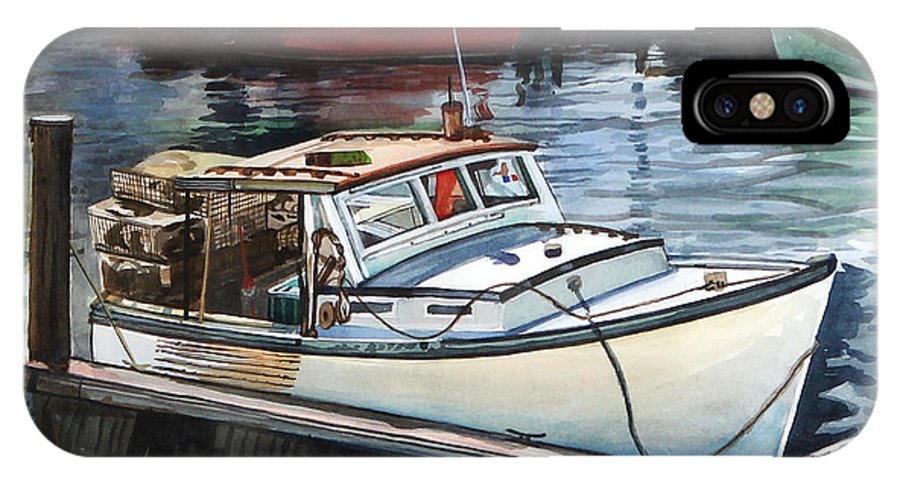 Lobster Boat IPhone X Case featuring the painting Gloucester Harbor by Michael McDougall