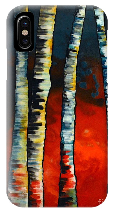 Abstract IPhone X Case featuring the painting Glow by Heather Lovat-Fraser