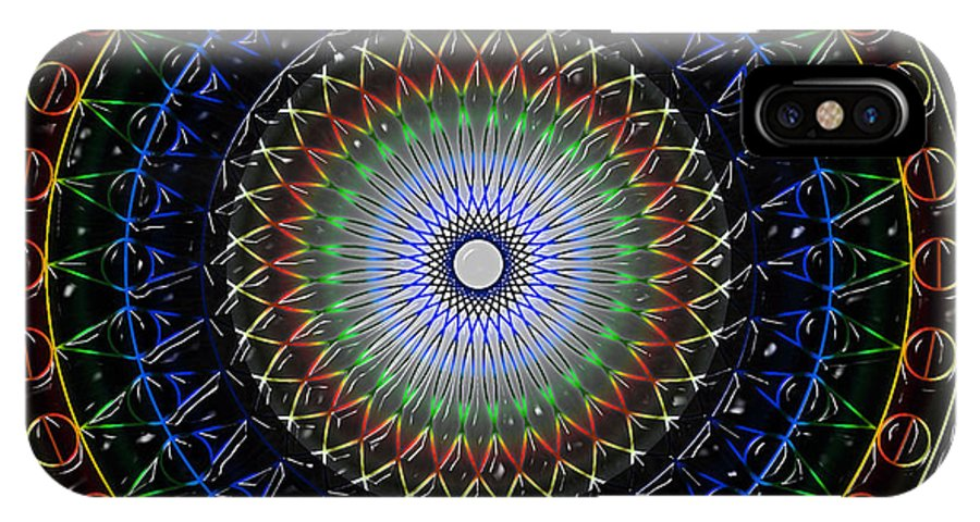 Mandala Art Work IPhone X Case featuring the digital art Glow Of The Ferris Wheel by Mario Carini
