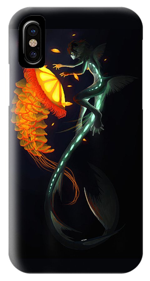 Water IPhone X Case featuring the painting Glowing Depths by Nicki Lagaly