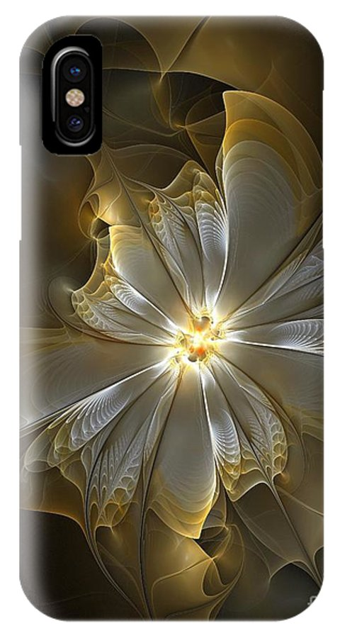 Digital Art IPhone X Case featuring the digital art Glowing in Silver and Gold by Amanda Moore