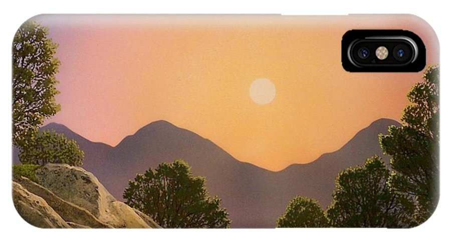 Mountains IPhone X Case featuring the painting Glowing Landscape by Frank Wilson
