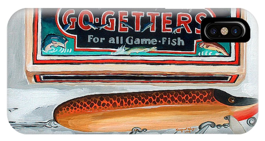 Fishing IPhone X Case featuring the painting Go Getters by Racquel Morgan