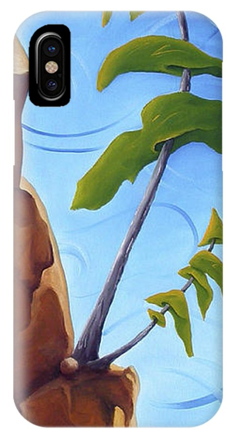Landscape IPhone X Case featuring the painting Goals by Richard Hoedl