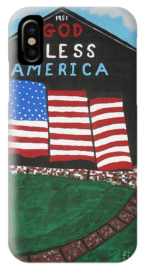 Landscape IPhone X Case featuring the painting God Bless America Barn by Jeffrey Koss