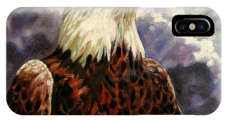 American Bald Eagle IPhone X Case featuring the painting God Bless America by John Lautermilch