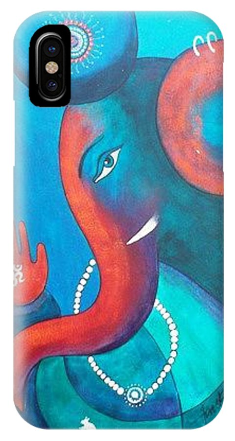 IPhone X Case featuring the painting God Ganesha by Sanjay Punekar