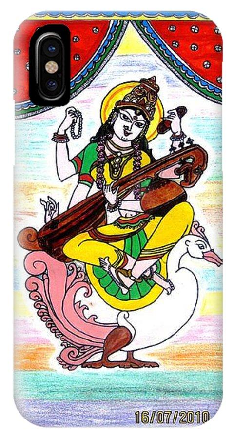 Goddess Religious Hindu God Madhubani Swan Mythology IPhone X Case featuring the painting Goddess Saraswati by Vertikaa Singh