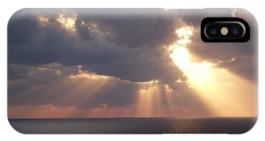 Sun Set IPhone X / XS Case featuring the photograph God's Creation by Melanie Latham