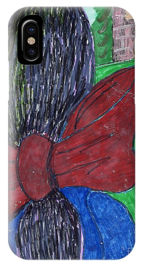 Girl With Large Bow In Back Of Hair. IPhone X Case featuring the mixed media Going Home by Elinor Rakowski
